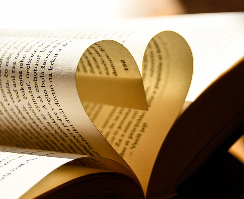 book page folded into a heart.