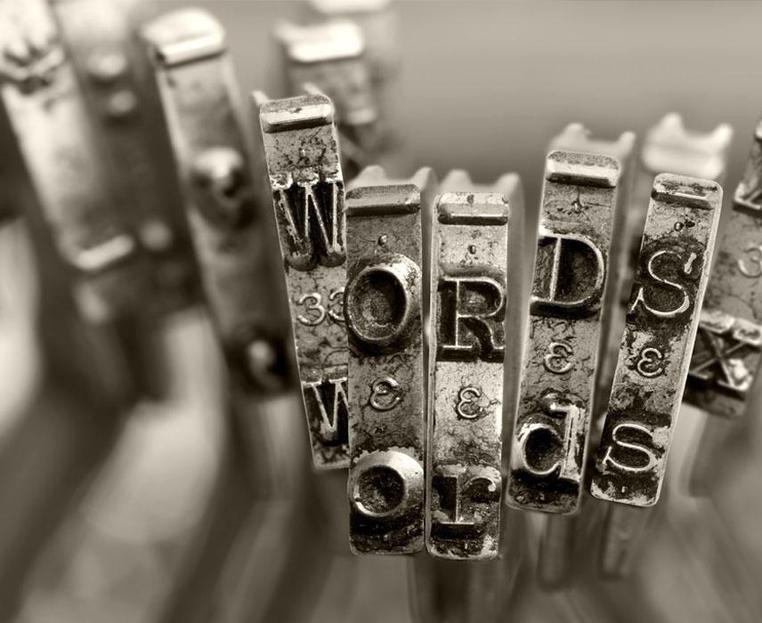 type writer keys spelling word